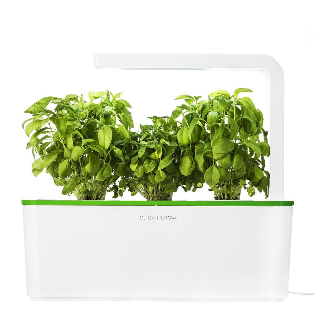 Click And Grow Smart Herb Garden With 3 Basil Cartridges Indoor Culinary Herb  Grow Kit (