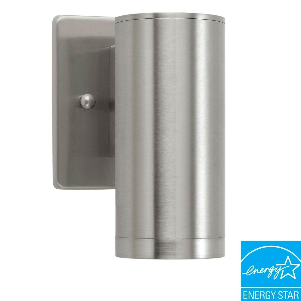 Home Decorators Collection Riga 1 Light Stainless Steel Outdoor Wall Mount Cylinder Wall Lantern Sconce 200024a The Home Depot