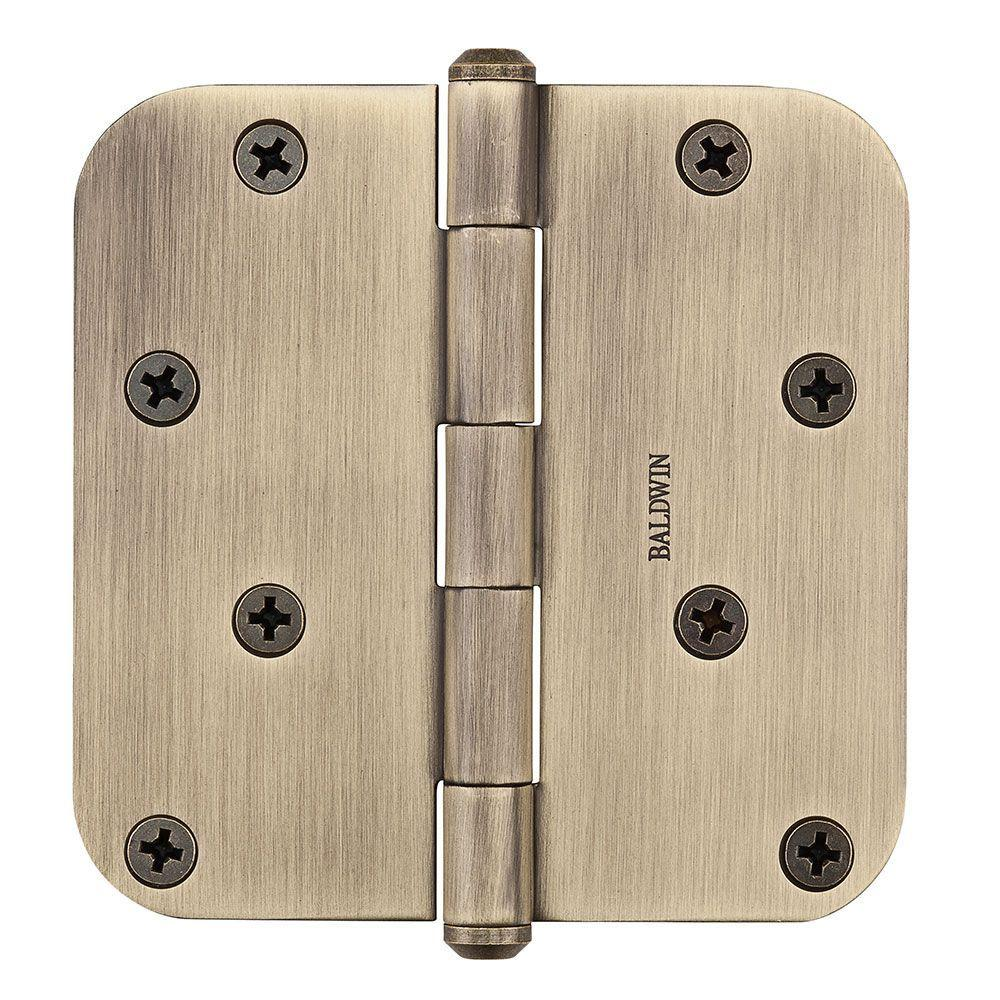 4 in. x 5/8 in. Matte Brass and Black Radius Hinge