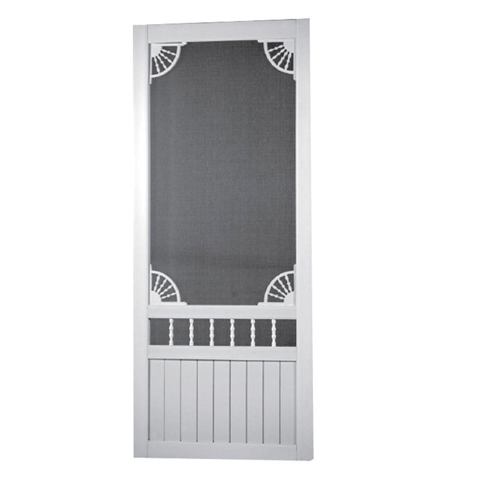 36 in. x 80 in. Laurel Bay Solid Vinyl White Screen Door