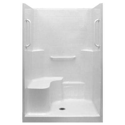 Ultimate-W 37 in. x 48 in. x 80 in. 1-Piece Low Threshold Shower Stall in White, Grab Bars, Molded Seat, Center Drain