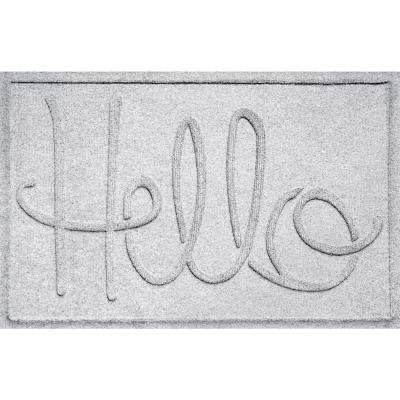 Simple Hello White 24 in. x 36 in. Polypropylene Door Mat