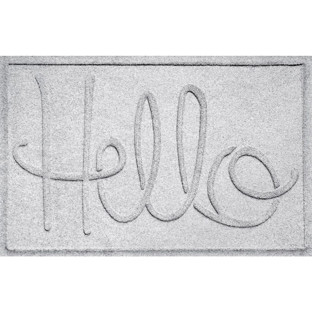 Simple Hello White 24 in. x 36 in. Polypropylene Door Mat