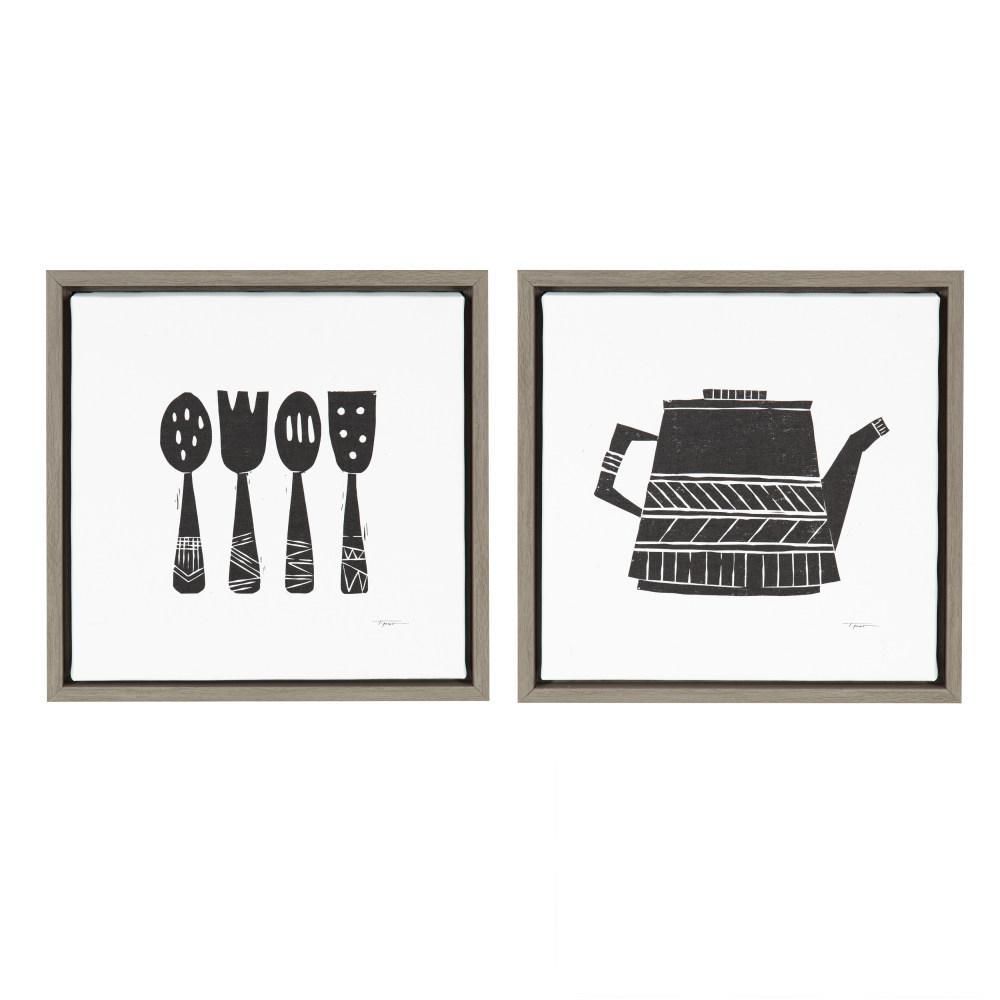 "Sylvie ""Tea Kettle/Utensils"" by Statement Goods Framed Canvas Wall Art Set"