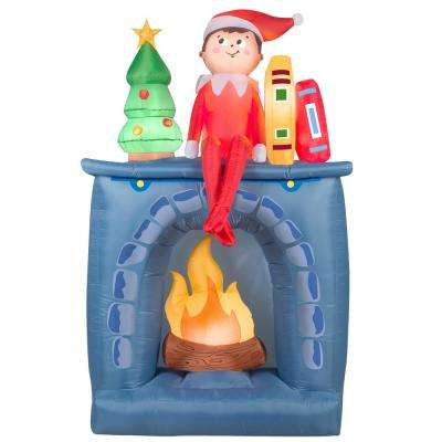 78 in. Inflatable Elf and Fireplace