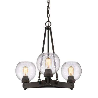 Galveston 3-Light Rubbed Bronze Chandelier with Seeded Glass Shades