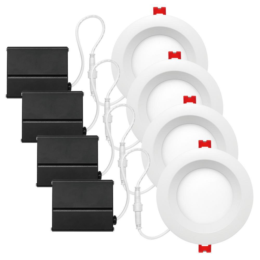Slimline Baffle 4 in. White Integrated LED Recessed Kit (4-Pack)