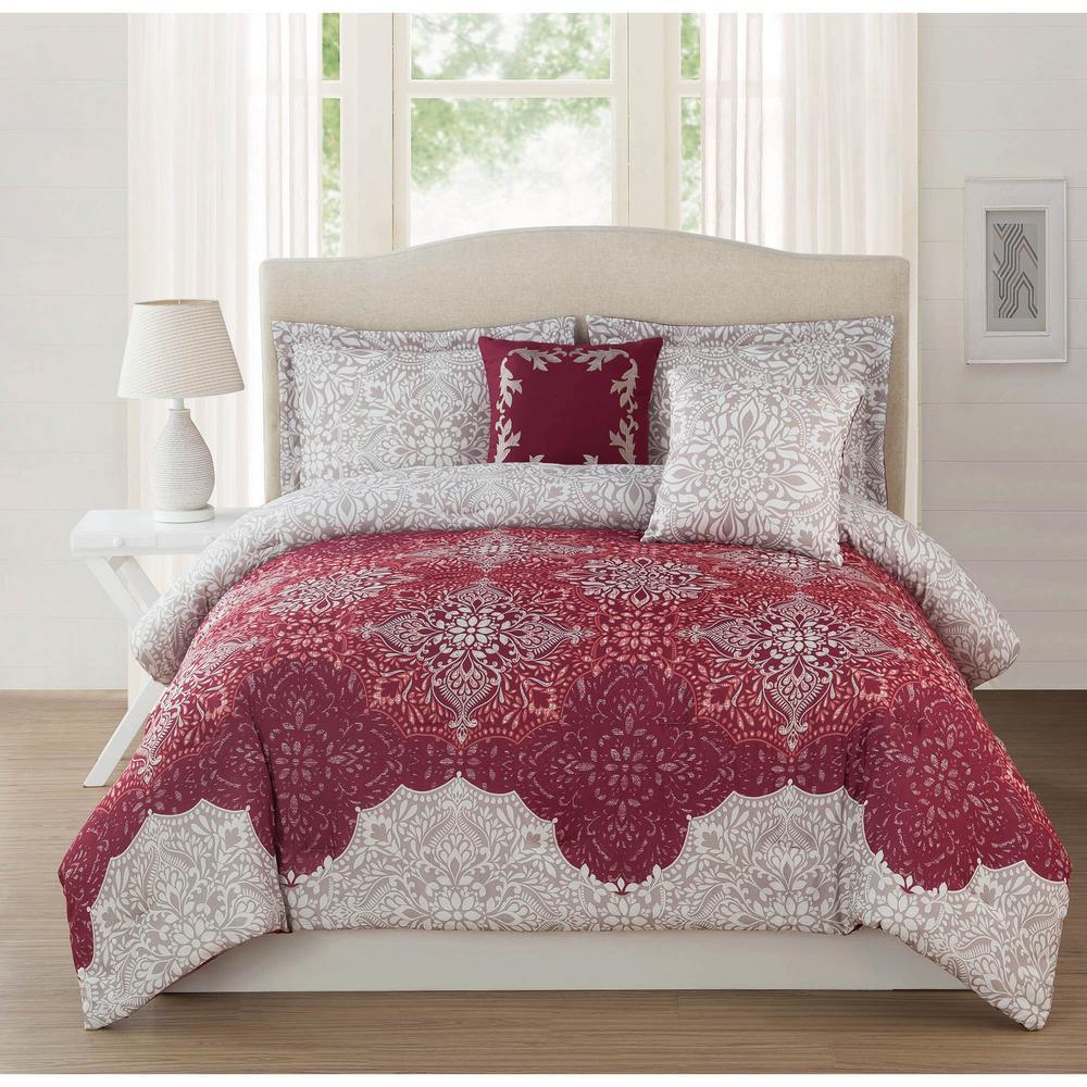 Studio 17 Ravenna Burgundy Light Mocha 5 Piece Full Queen Comforter