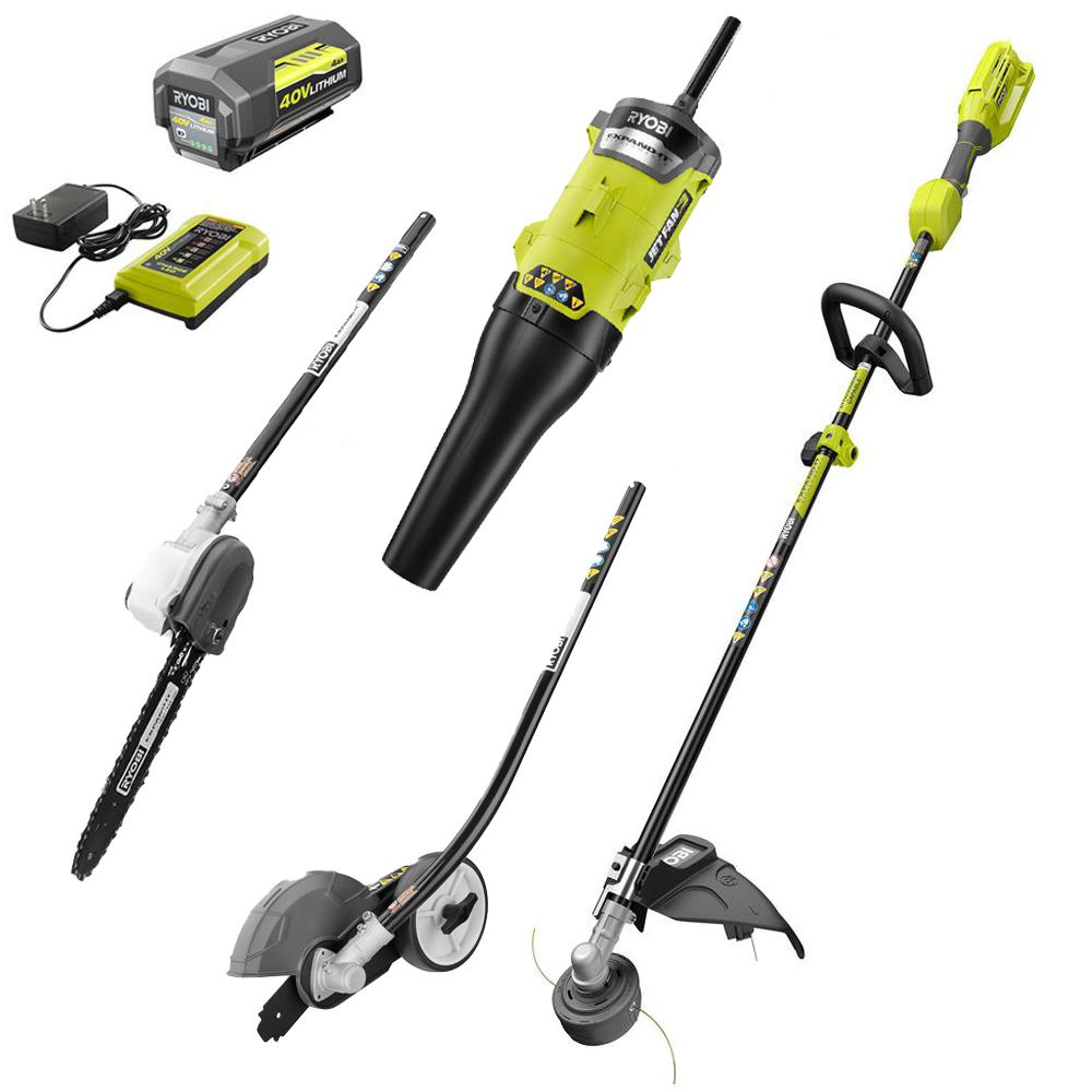 RYOBI 40-Volt X Lithium-Ion Expand-It Kit with String Trimmer/Edger/Pole Saw/Blower, 4.0 Ah Battery and Charger Included