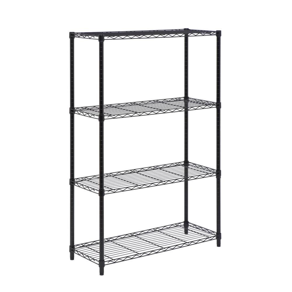 4-Shelf 54 in. H x 36 in. W x 14 in. D Steel Shelving Unit in Black