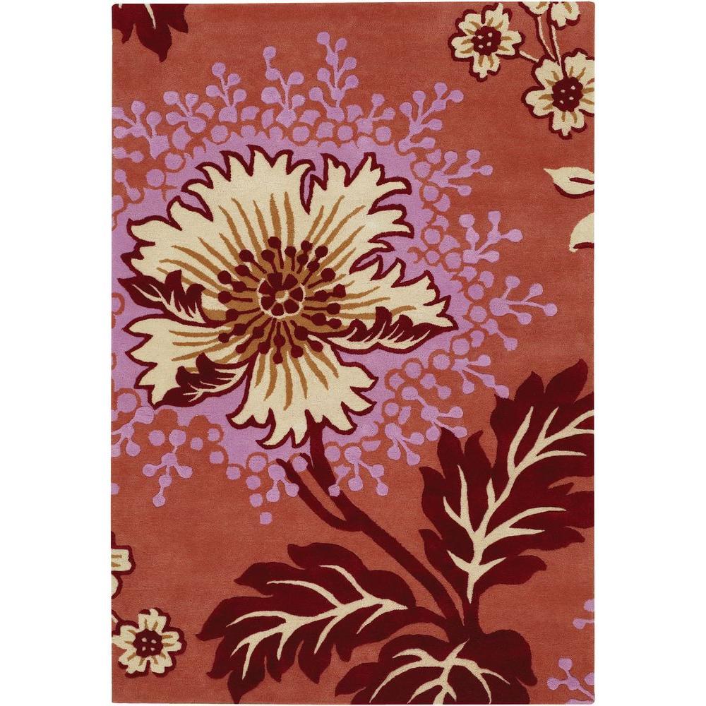Chandra Amy Butler Pink/Cream 5 ft. x 7 ft. 6 in. Indoor Area Rug