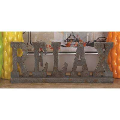 """20 in. x 8 in. Home and Hearth """"RELAX"""" Wooden Table Sign"""
