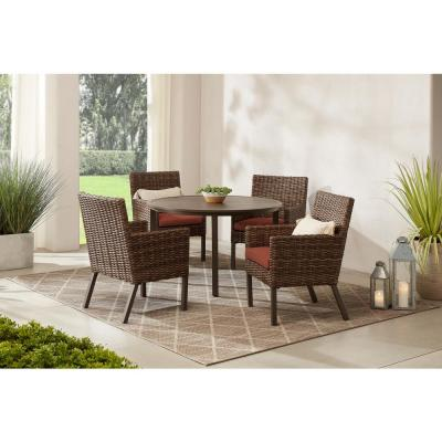 Fernlake 5-Piece Taupe Wicker Outdoor Patio Dining Set with CushionGuard Quarry Red Cushions