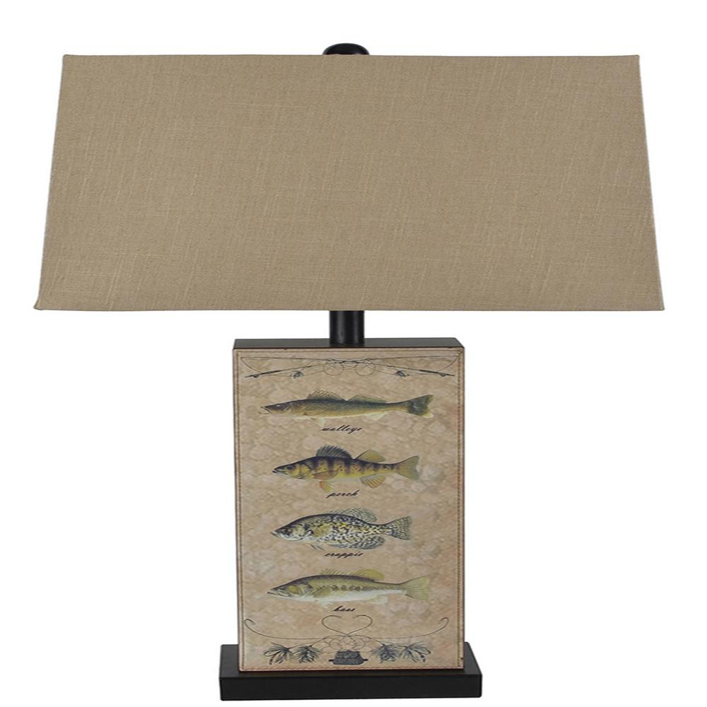 Santas workshop 28 in leather fish table lamp 50978 the home depot leather fish table lamp aloadofball Image collections