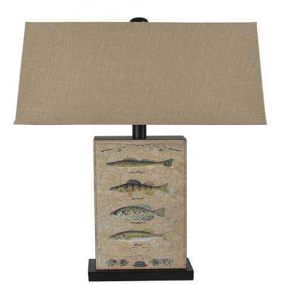 28 in. Leather Fish Table Lamp