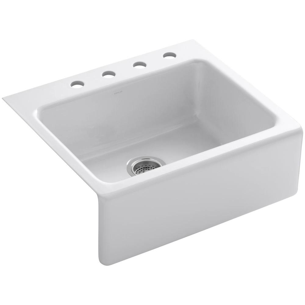 Alcott Tile-In Farmhouse Apron-Front Fireclay 25 in. 4-Hole Single Bowl Kitchen