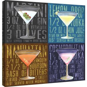 15 In X 15 In Martini 4 Up Printed Canvas Wall Art