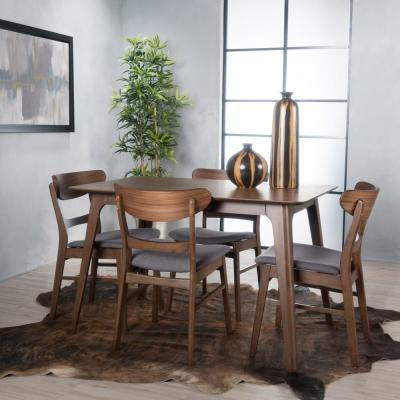 Idalia 5-Piece Dark Grey and Natural Walnut Dining Set