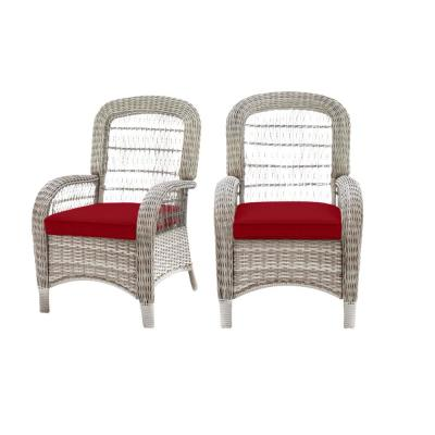Beacon Park Gray Wicker Outdoor Patio Captain Dining Chair with CushionGuard Chili Red Cushions (2-Pack)