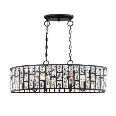 Kristella 6-Light Matte Black Linear Pendant with Clear Crystal Shade