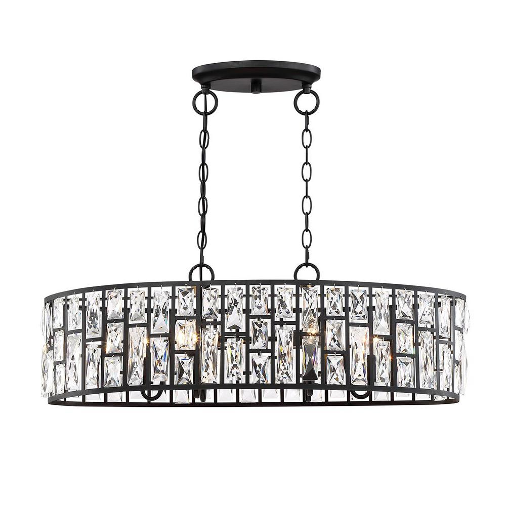 Home Decorators Collection Kristella 6-Light Matte Black Linear Pendant with Clear Crystal Shade