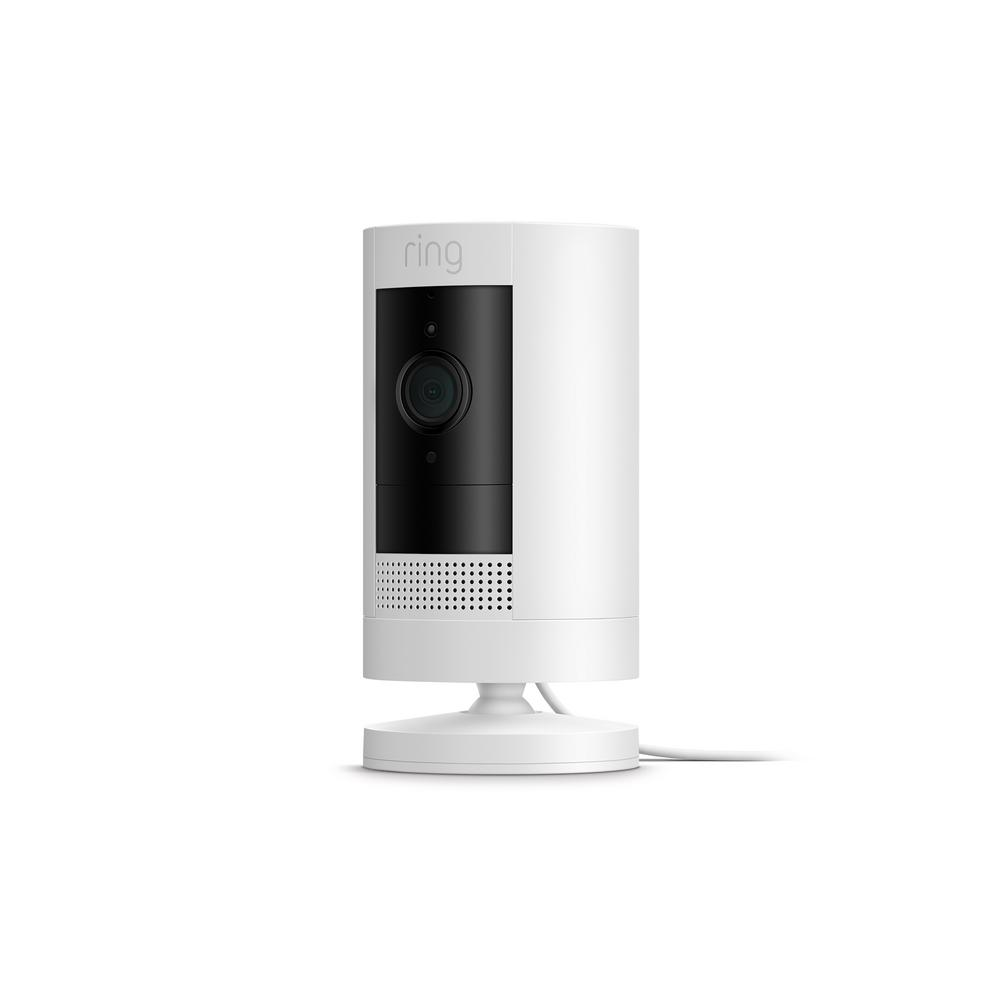 Ring Stick Up Camera Plug-In Indoor/Outdoor Standard Security Camera, White