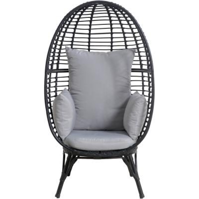 Poppy Oversize Wicker Outdoor Lounge Chair with Gray Cushions