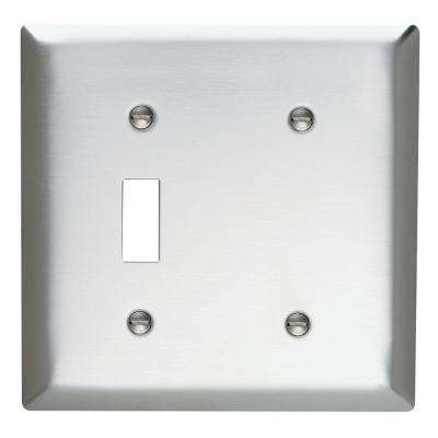 302 Series 2-Gang Toggle/Blank Wall Plate in Stainless Steel