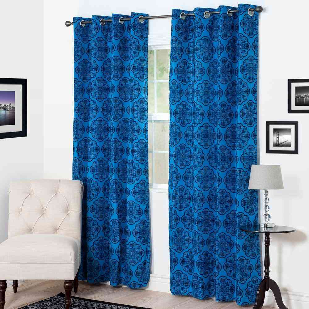 Semi-Opaque Dana Flocked Blue Polyester Grommet Curtain - 54 in. - Sale: $12.35 USD (35% off)