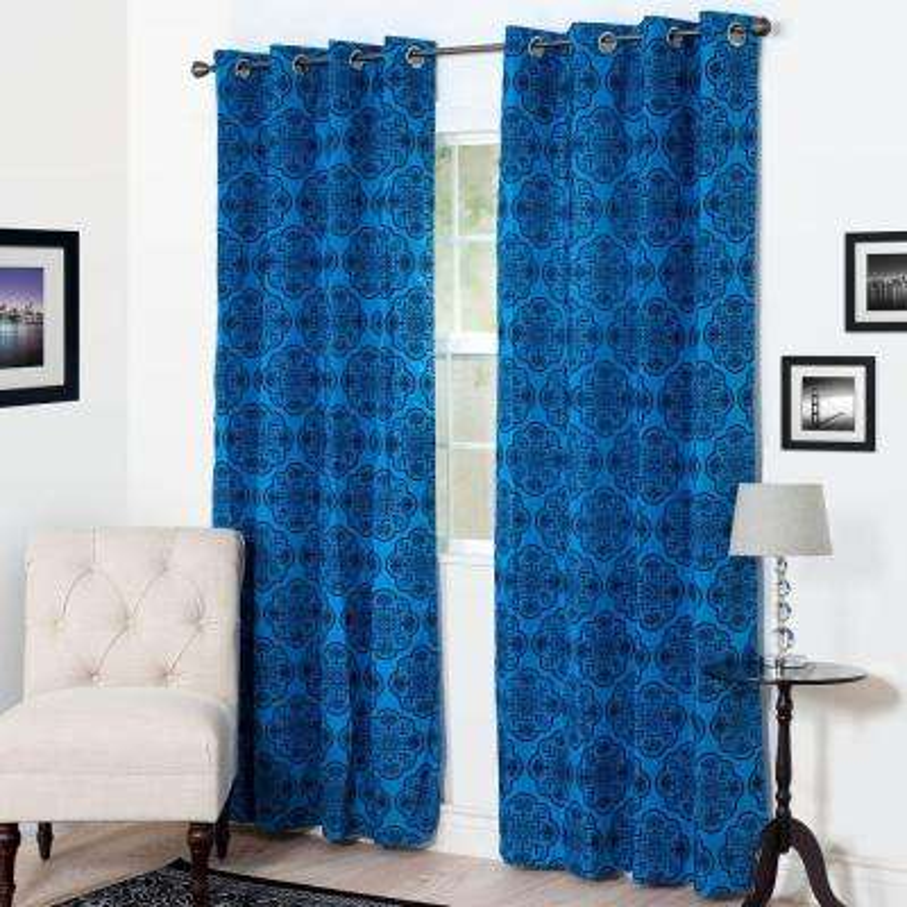 Semi-Opaque Dana Flocked Blue Polyester Grommet Curtain - 54 in. W x 84 in. L