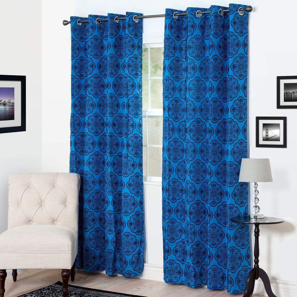 Semi-Opaque Dana Flocked Blue Polyester Grommet Curtain - 54 in. W x 95 in. L