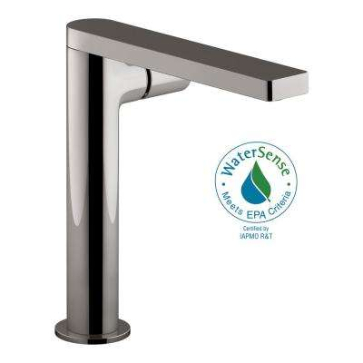 Composed Single Hole Single-Handle Tall Vessel Bathroom Faucet with Cylindrical Handle and Drain in Titanium