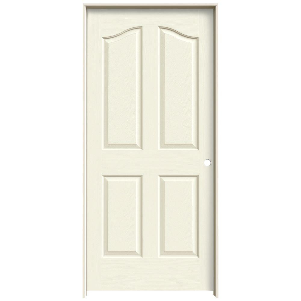 36 in. x 80 in. Provincial Vanilla Painted Left-Hand Smooth Molded