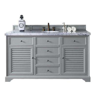 Savannah 60 in. W Single Vanity in Urban Gray with Marble Vanity Top in Carrara White with White Basin