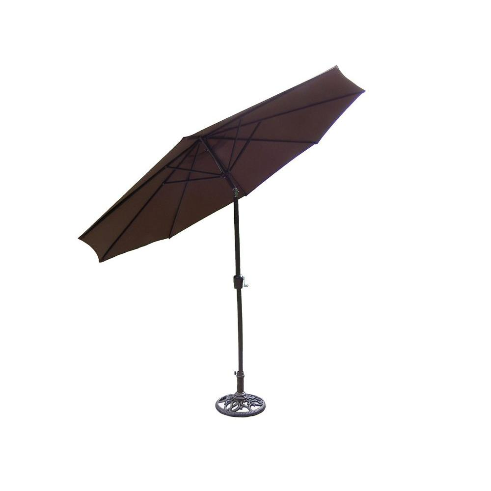 Oakland living 9 ft patio umbrella in brown with stand for Balcony umbrella