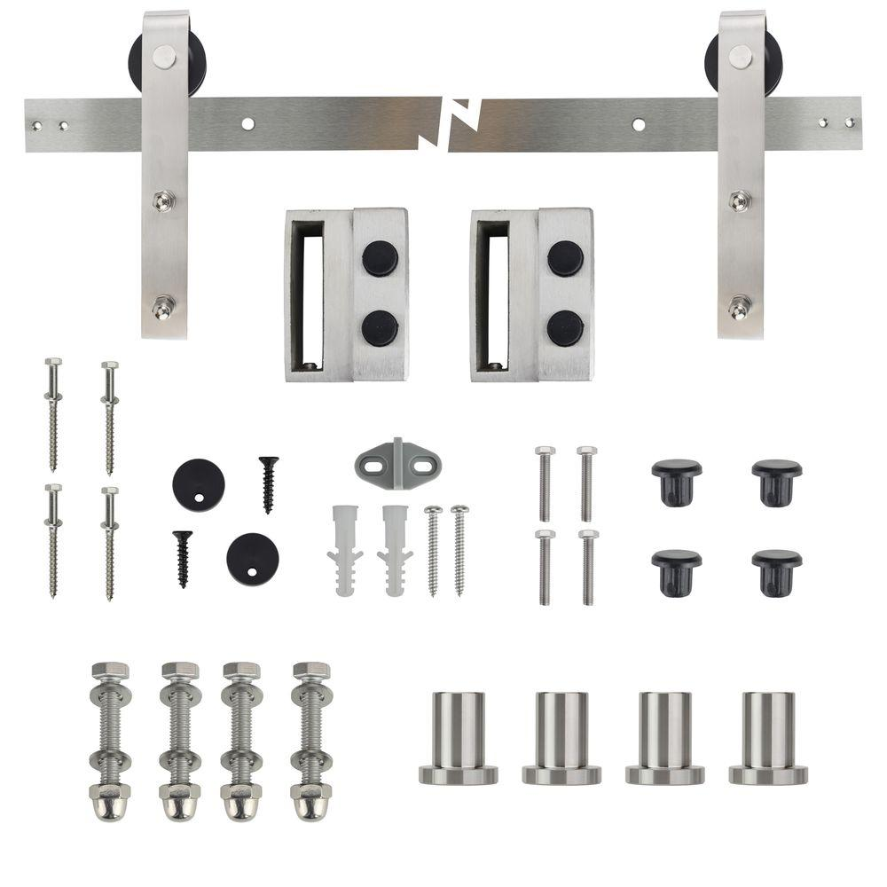 72 in. Stainless Steel Strap Sliding Barn Door Track and Hardware