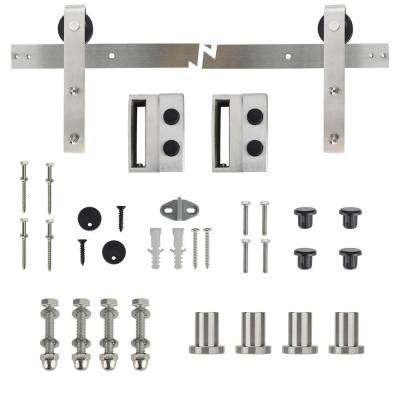72 in. Stainless Steel Strap Sliding Barn Door Track and Hardware Kit