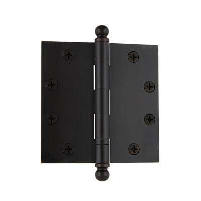 4.5 in. Timeless Bronze Ball Tip Heavy-Duty Hinge with Square Corners