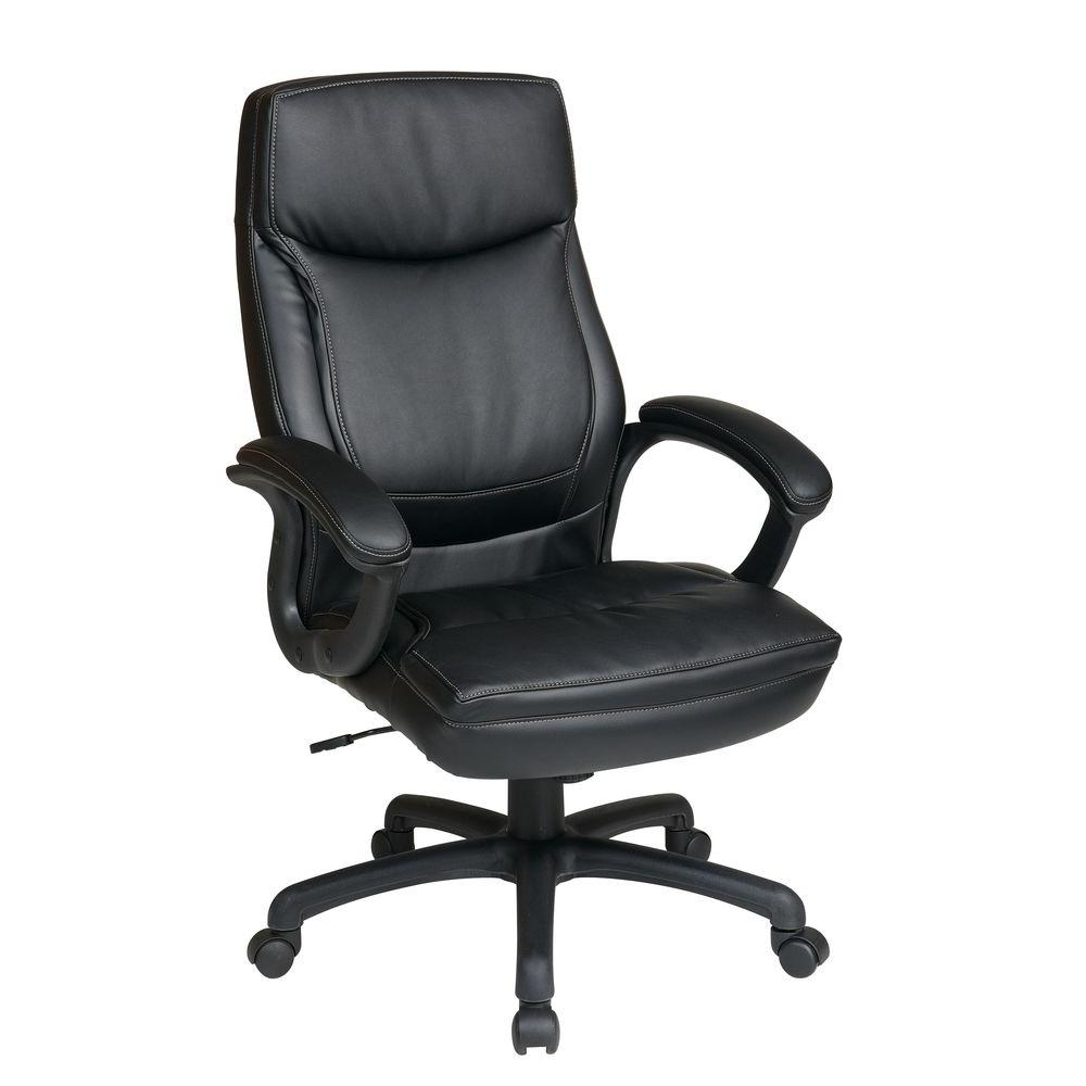 A Work Smart Black Eco Leather High Back Executive Office Chair