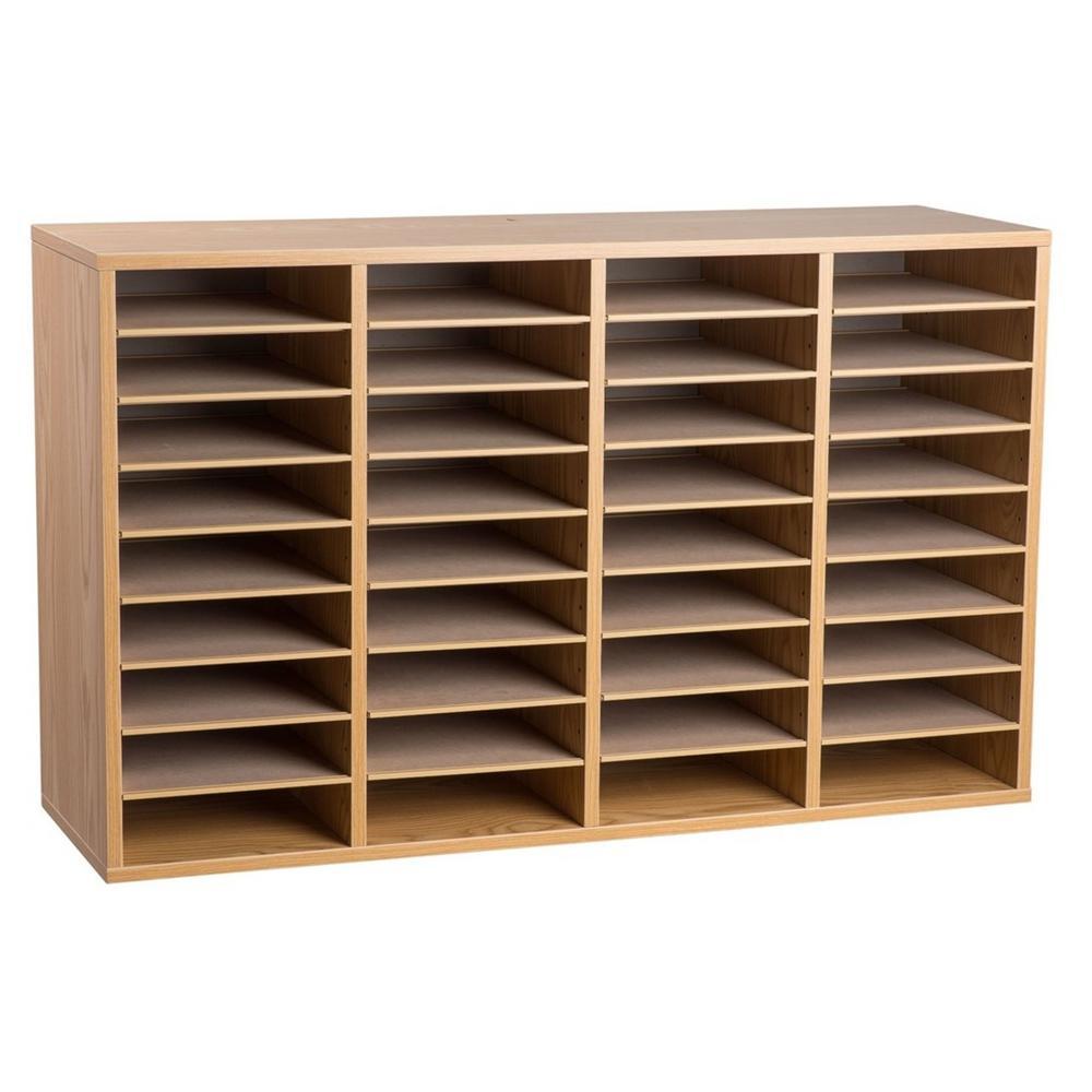 Wood Adjustable 36 Compartment Literature Organizer, Medium Oak