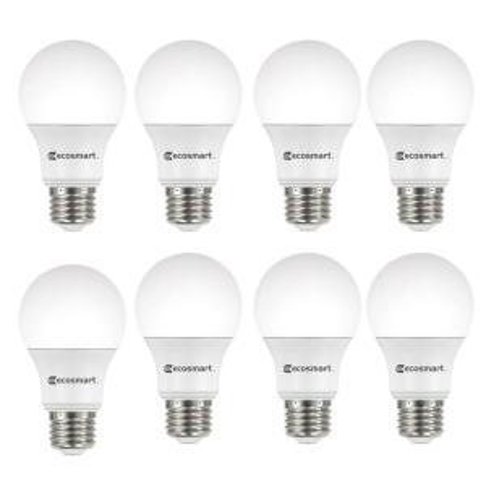8-Pack EcoSmart 60-Watt Equivalent A19 Non-Dimmable Daylight (5000K) LED Light Bulb