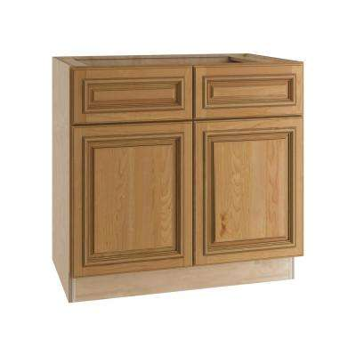 Clevedon Assembled 33x34.5x24 in. Double Door Base Kitchen Cabinet, 2 Drawers & 2 Rollout Trays in Toffee Glaze