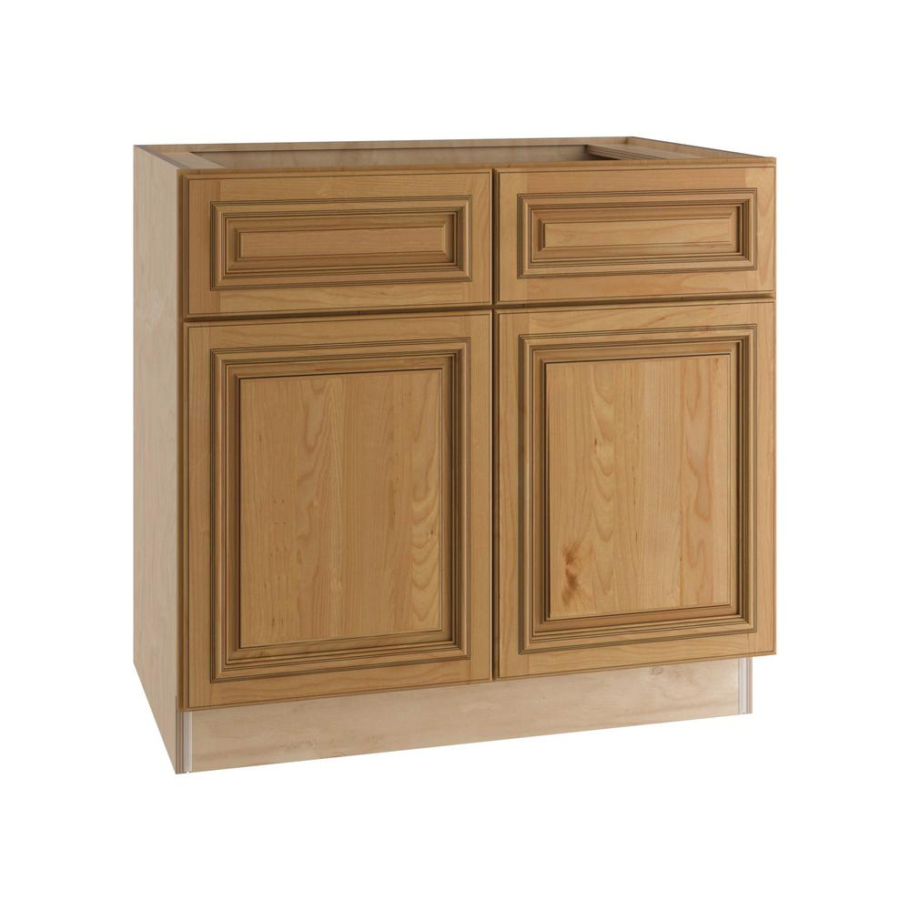 Home Decorators Collection Clevedon Assembled 33x34.5x24 in. Double Door Base Kitchen Cabinet & 2 Drawers in Toffee Glaze