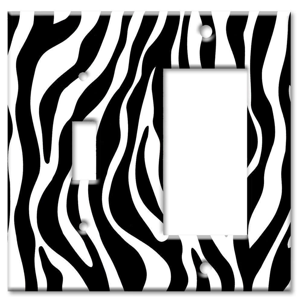 Art Plates Zebra Print Switch/Rocker Combo Wall Plate