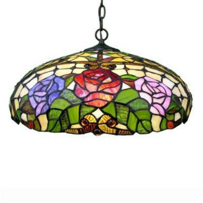 2-Light Bronze Hanging Large Pendant with Stained Glass