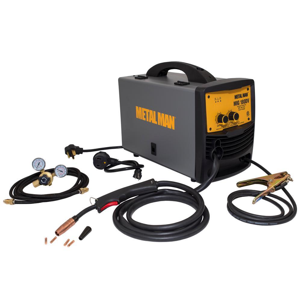 METAL MAN 180 Amp Input Power 120-Volt/240 Volt. Dual Voltage MIG and Flux Core Wire Feed Welder