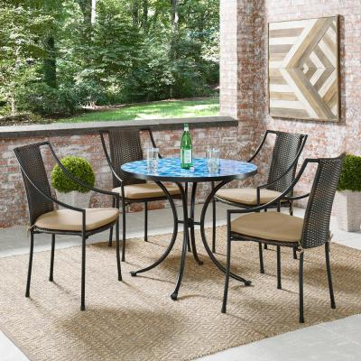 Larimer Blue and Black Round Outdoor Bistro Table with Marble Top