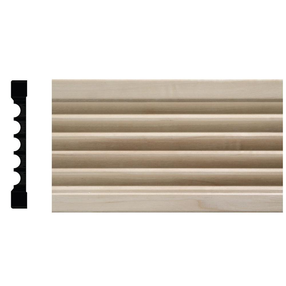 Ornamental Mouldings 1644 1/2 in. x 4 in. x 84 in. White Hardwood Fluted Casing Moulding