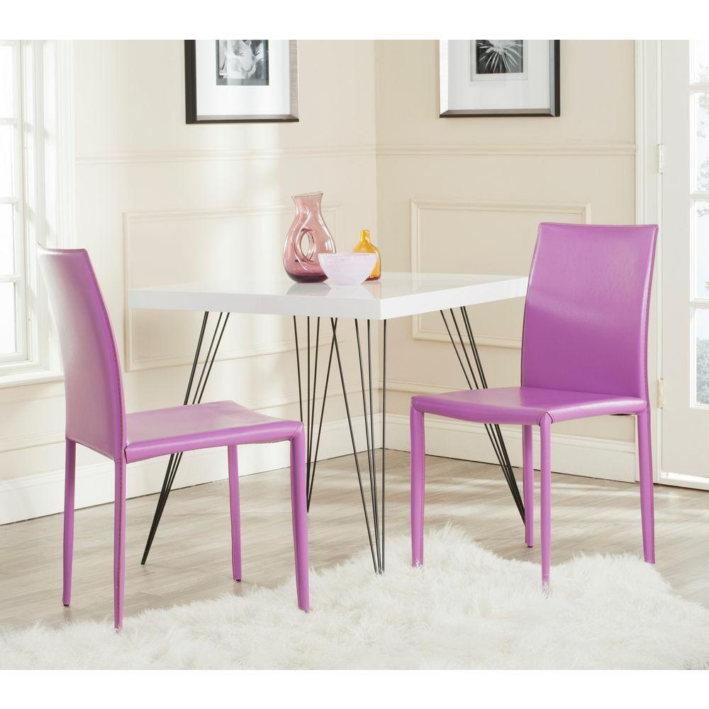Safavieh Karna Orange Bonded Leather Dining Chair Set Of 2