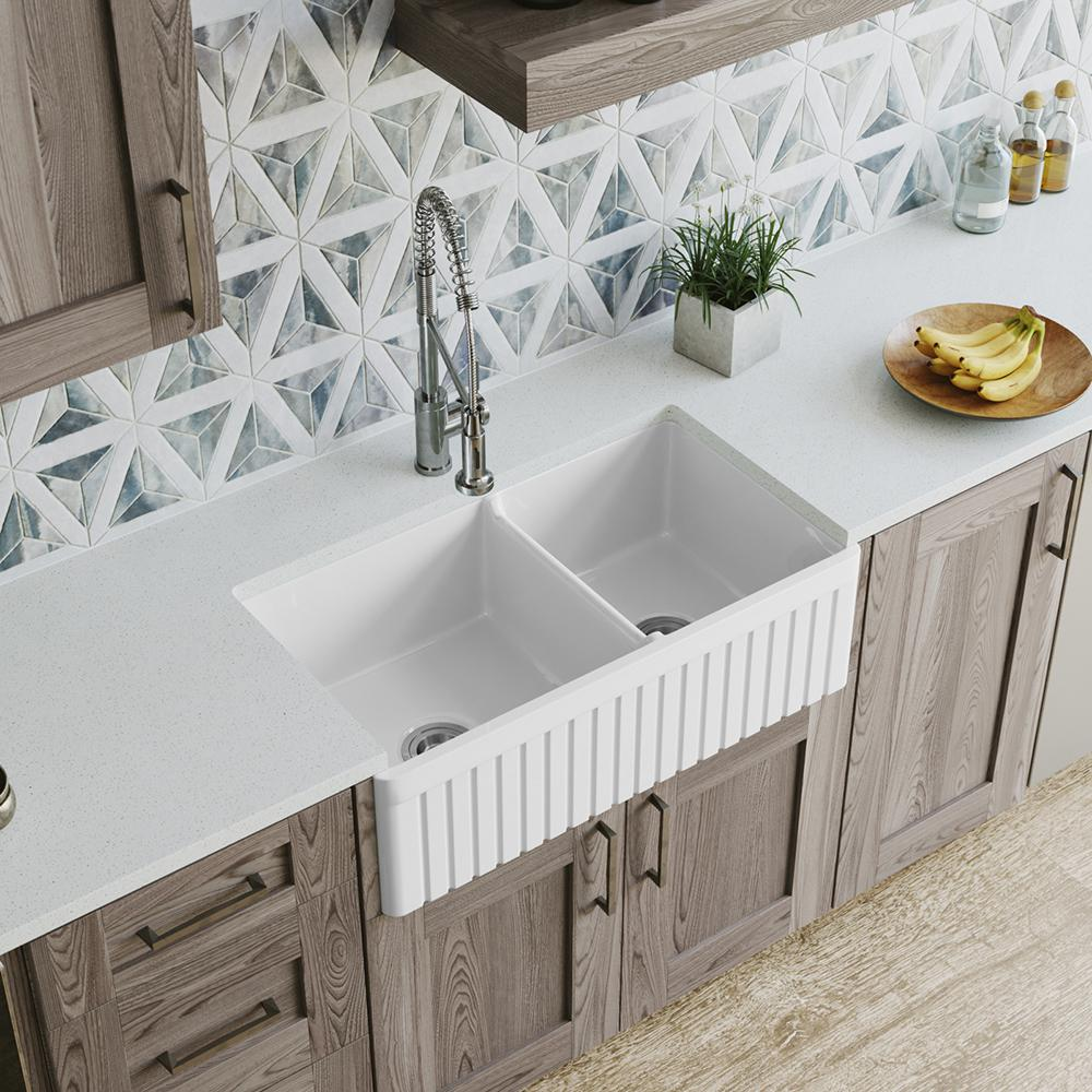 Mr Direct Farmhouse A Front Fireclay 33 In 60 40 Double Bowl Kitchen Sink